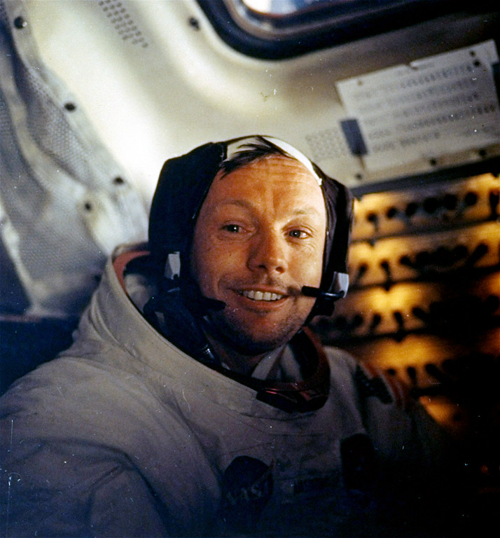 ". FILE - This July 20, 1969 file photo provided by NASA shows Neil Armstrong. The family of Neil Armstrong, the first man to walk on the moon, says he died Saturday, Aug. 25, 2012, at age 82. A statement from the family says he died following complications resulting from cardiovascular procedures. It doesn\'t say where he died. Armstrong commanded the Apollo 11 spacecraft that landed on the moon July 20, 1969. He radioed back to Earth the historic news of ""one giant leap for mankind.\"" Armstrong and fellow astronaut Edwin \""Buzz\"" Aldrin spent nearly three hours walking on the moon, collecting samples, conducting experiments and taking photographs. In all, 12 Americans walked on the moon from 1969 to 1972.  (AP Photo/NASA)"