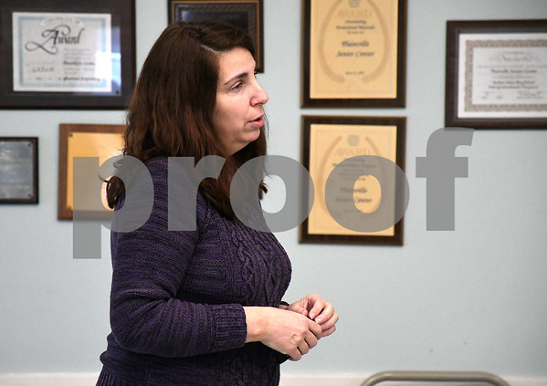 2/22/2018 Mike Orazzi | Staff Cathy Sisco of Connecticut Clearinghouse/Wheeler Clinic during a discussion about the Opiod Epidemic held at the Plainville Senior Center Thursday morning.
