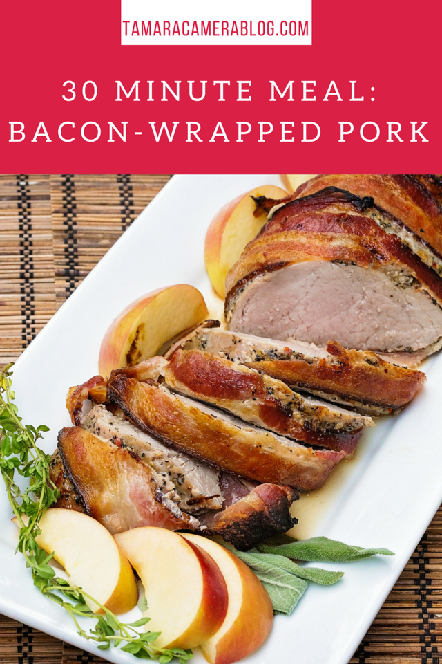 What's for dinner? How about Bacon-Wrapped Smithfield Marinated Fresh Pork? It can be made in 30 minutes, and tastes GREAT! #Recipe #RealFlavorRealFast #ad
