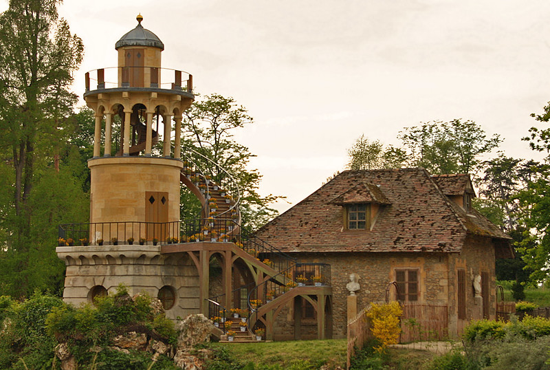 "The Petit hameau de la Reine (""Little hamlet of the Queen"") was the rustic retreat built for Marie Antoinette, sited in the private section of the park of Versailles"