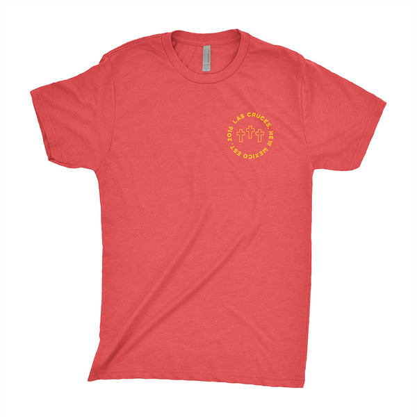 Organ Mountain Outfitters - Outdoor Apparel - Mens T-Shirt - Las Cruces Farmers Market Tee - Vintage Red Front.jpg