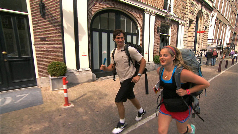 ". ""Fishy Kiss (Amsterdam, Netherlands)\""--Dating Couple Trey (left) and Lexi (right) make their way on foot to the next location on THE AMAZING RACE on the CBS Television Network. Photo: CBS ©2012 CBS Broadcasting, Inc. All Rights Reserved"