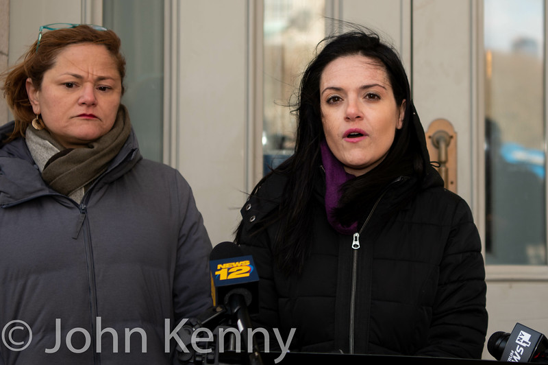 Public advocate candidates Melissa Mark-Viverito and Nomiki Konst during a windy joint press conference on the steps of Brooklyn Borough Hall.  They sought focus attention on, and demand more information on, a recent report that fellow candidate Jumaane Williams was arrested in a 2009 domestic dispute with his then-girlfriend.      Mark-Viverito/Konst 2/25/19