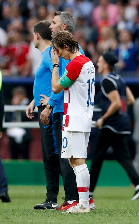 . Croatia\'s Luka Modric reacts at the end of the final match between France and Croatia at the 2018 soccer World Cup in the Luzhniki Stadium in Moscow, Russia, Sunday, July 15, 2018. France won 4-2. (AP Photo/Petr David Josek)