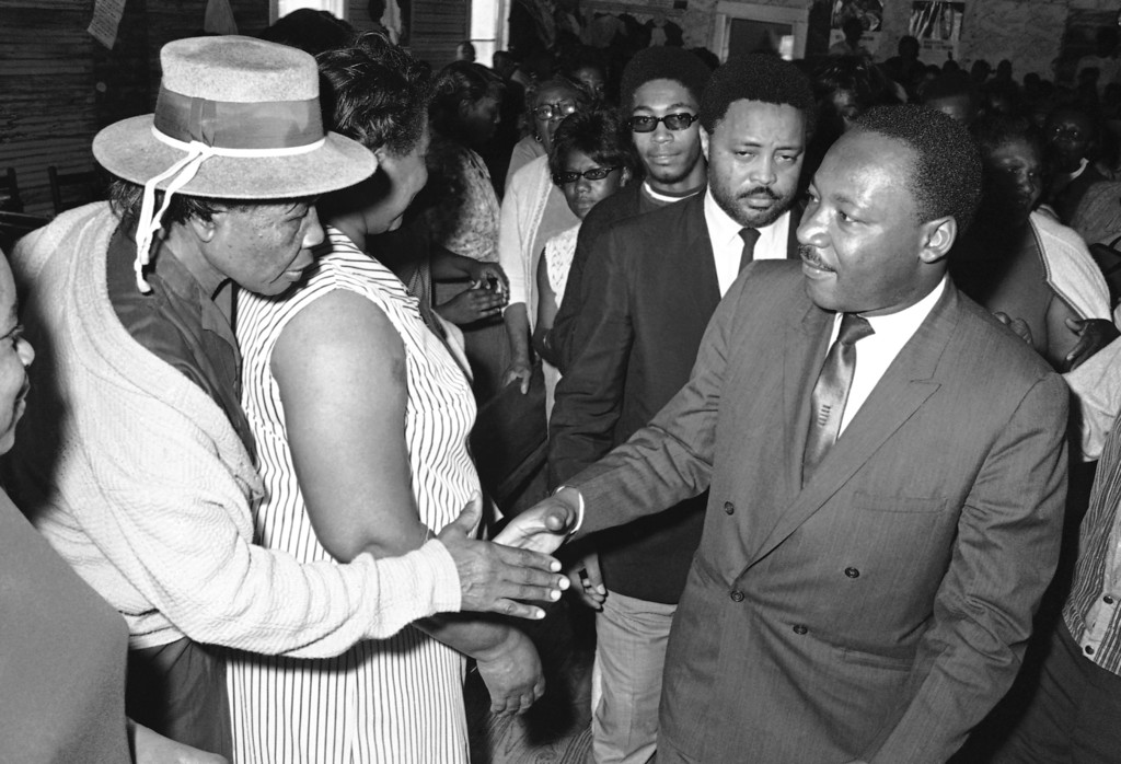. Dr. Martin Luther King at Marks, Mississippi, March 19, 1968 recruiting for his Poor Peoples March on Washington. (AP Photo/Jack Thornell)