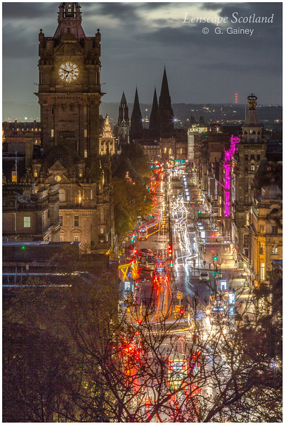 Balmoral Hotel clock tower and Princes Street at dusk from Calton Hill (2)