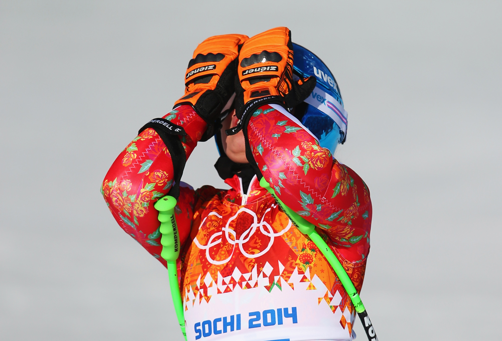 . Victoria Rebensburg of Germany reacts after a run during the Alpine Skiing Women\'s Super-G on day 8 of the Sochi 2014 Winter Olympics at Rosa Khutor Alpine Center on February 15, 2014 in Sochi, Russia.  (Photo by Clive Rose/Getty Images)