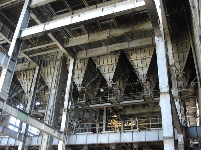 Inside view of the coal hoppers to be demolished