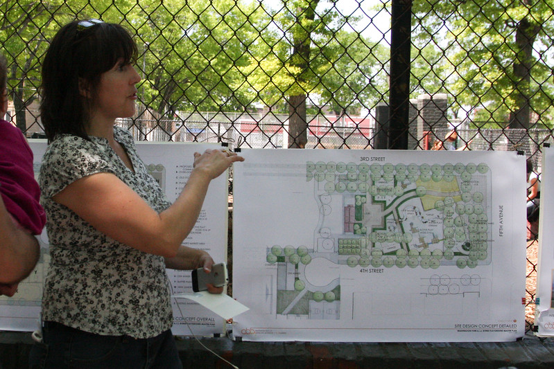 Kim Maier, Executive Director of the Old Stone House at JJ Byrne Park,  explaining the wonderful changes to Washington/ J.J. Byrne Park.