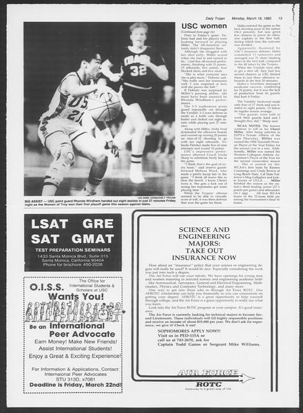 Daily Trojan, Vol. 98, No. 45, March 18, 1985