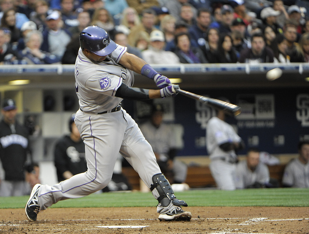. SAN DIEGO, CA - APRIL 13: Wilin Rosario #20 of the Colorado Rockies hits a single during the third inning of a baseball game against the San Diego Padres at Petco Park on April 13, 2013 in San Diego, California. (Photo by Denis Poroy/Getty Images)