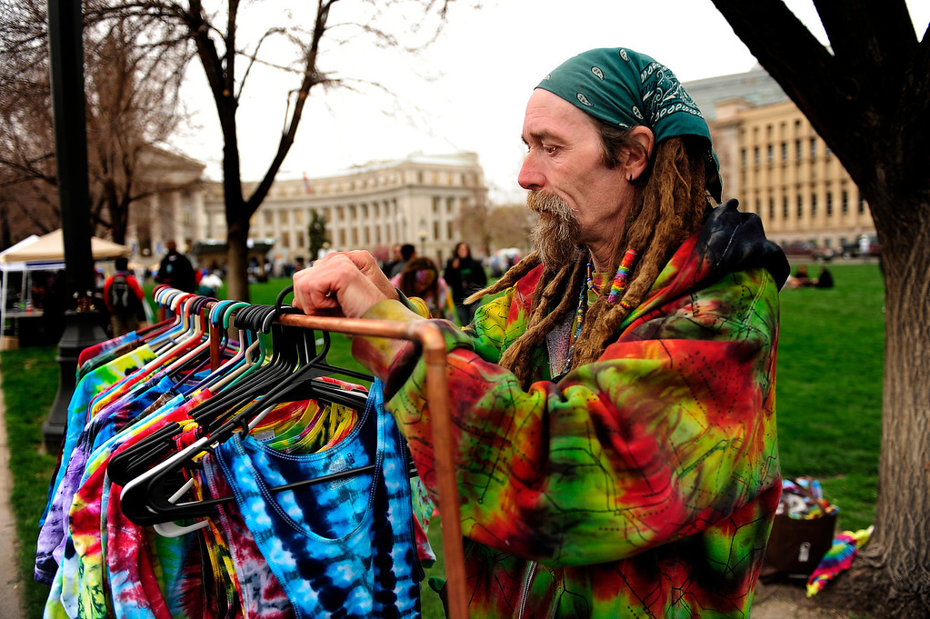 . Papa Jay of VW Peaceworks in Littleton setting up for the Annual Denver 420 Rally in Civic Center Park.      Joe Amon, The Denver Post