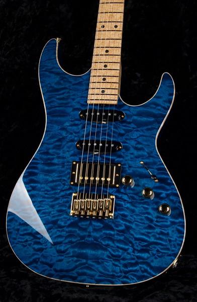 Bent Top #3766, Mahogany Quilt Maple Top, Transparent Deep Aqua Blue, Grosh S/S/H Pickups