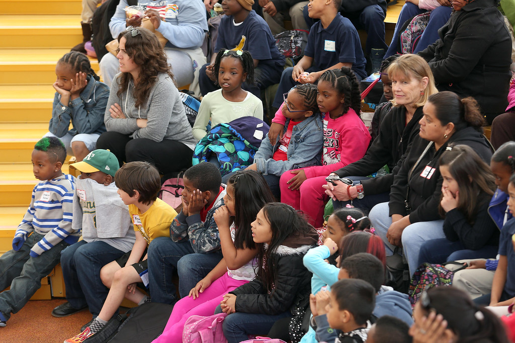 ". Children from Emerson Elementary School watch San Francisco Shakespeare actors perform ""A Midsummer Night\'s Dream\"" on the Aesop\'s Playhouse stage at Children\'s Fairyland in Oakland, Calif., on Friday, March 15, 2013.  (Jane Tyska/Staff)"