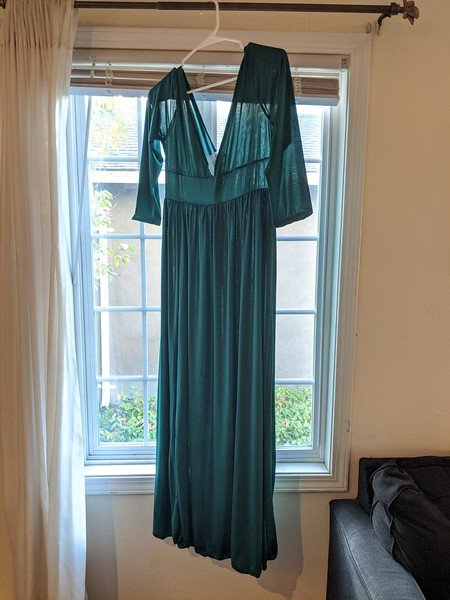 Green medium length stretch knit maternity dress