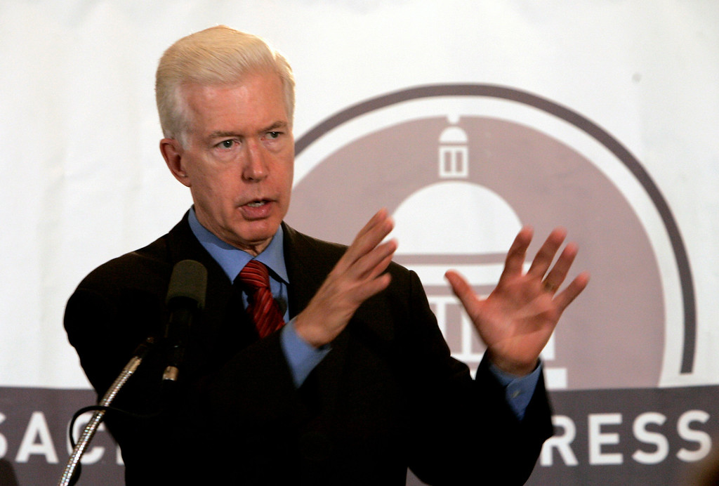 . Former Gov. Gray Davis gestures while speaking before the Sacramento Press Club in Sacramento, Calif., on Wednesday, Nov. 14, 2007. (AP Photo/Rich Pedroncelli)