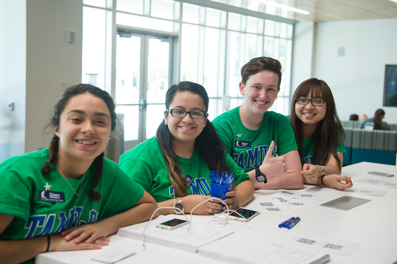 Orientation Leaders set up shop in the UC to help incoming freshman.