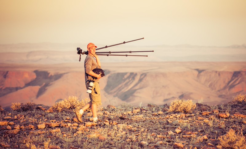 Curtis looking for a shot. Trey Ratcliff took this photo on the hike around Fish River canyon.