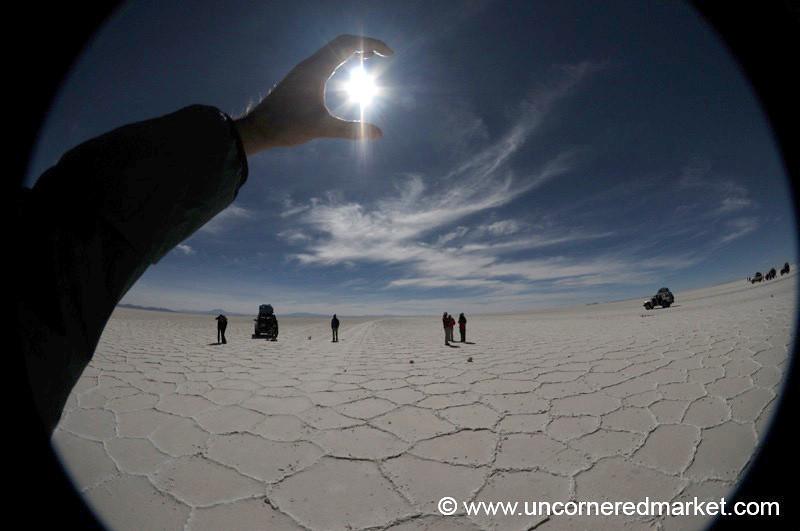 Sunshine in Hand - Salar de Uyuni, Bolivia