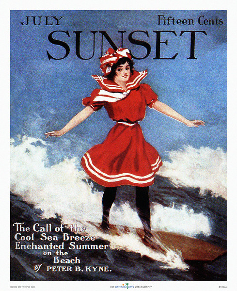 109: Sunset Magazine Magazine Cover with Surfing Girl. Ca. 1928