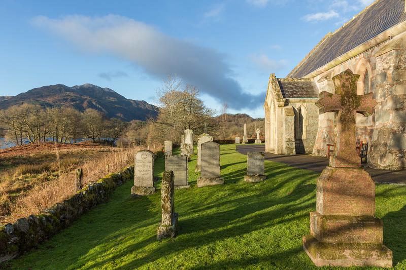 Trossachs Church graveyard and Ben Venue
