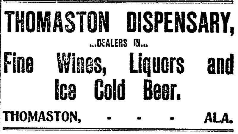 Thomaston Dispensary advertisement