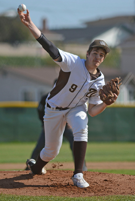 . West\'s pitcher Christian D\'Emilia (9) opens the game against Torrance in a non league baseball game at West on Thursday. After a scoreless game through five, West went on to win 7-4. 20130314 Photo by Steve McCrank / Staff Photographer