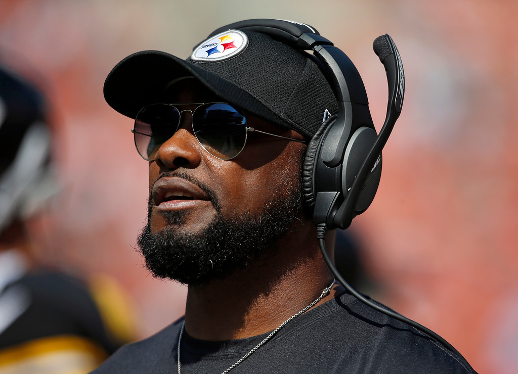 . Pittsburgh Steelers head coach Mike Tomlin watches during the second half of an NFL football game against the Cleveland Browns, Sunday, Sept. 10, 2017, in Cleveland. (AP Photo/Ron Schwane)