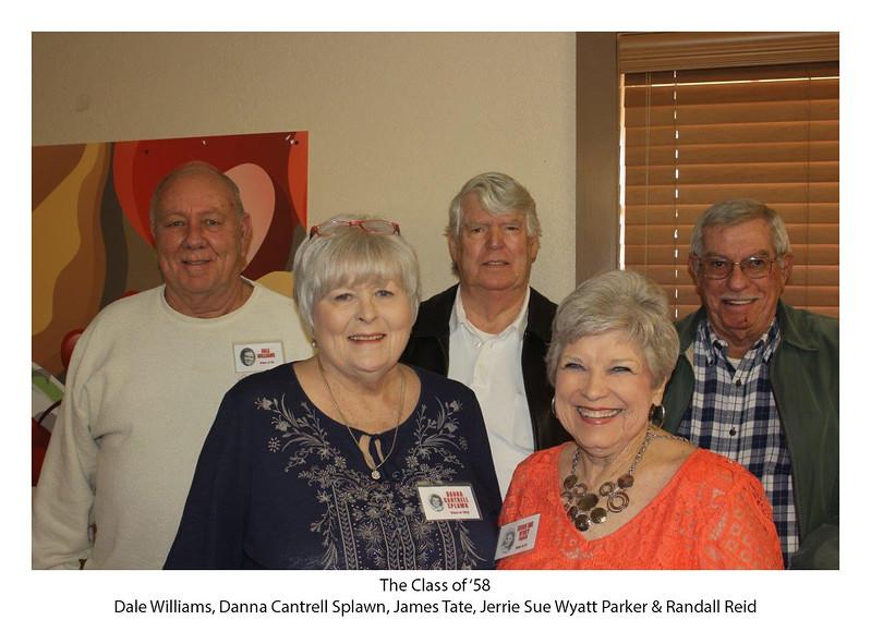 Class of '58ers - Dale Williams, Danna Cantrell Splawn, James Tate, Jerrie Sue Wyatt Parker, Randall Reid.jpg