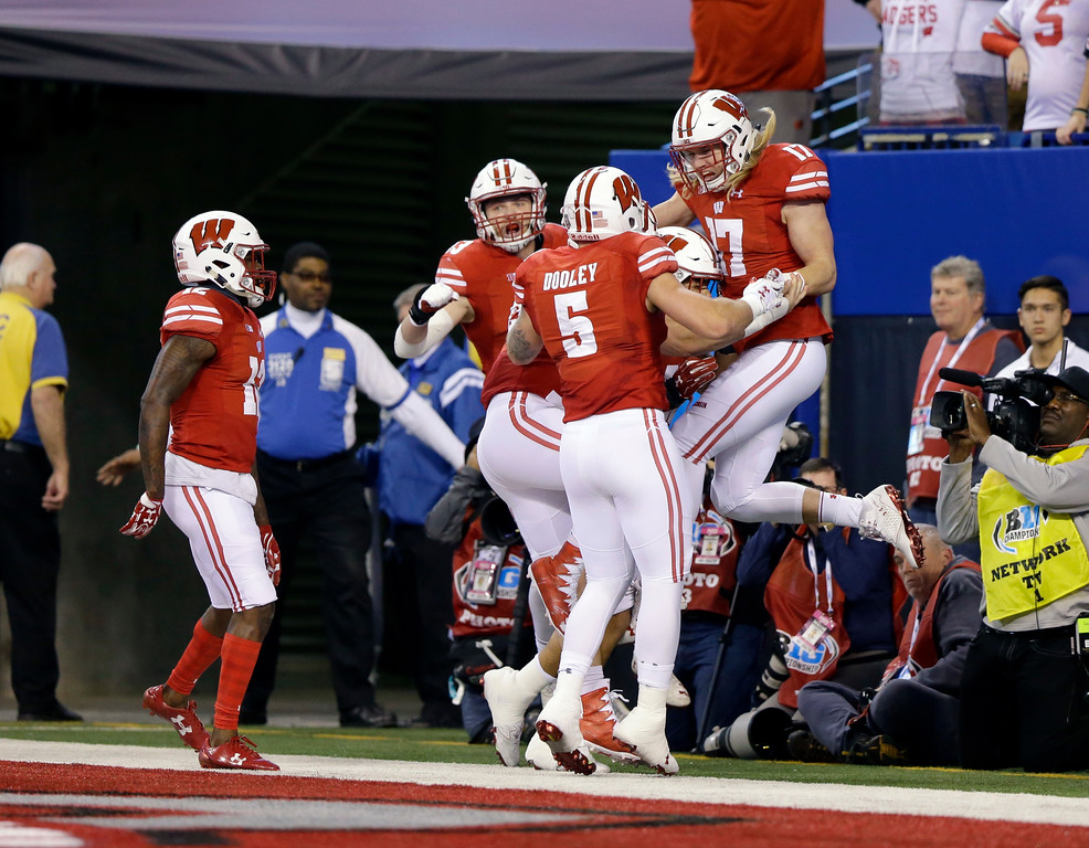 . Wisconsin linebacker Andrew Van Ginkel (17) celebrates a 9-yard touchdown interception during the first half of the Big Ten championship NCAA college football game against Ohio State, Saturday, Dec. 2, 2017, in Indianapolis. (AP Photo/Michael Conroy)