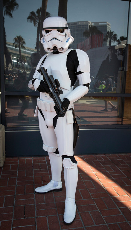 """. Cosplayer Michael Qoyawayma poses in his \""""Storm Trooper TK9729\"""" costume, inspired by the Stormtroopers from the \""""Star Wars\"""" movies, during the 2013 San Diego Comic-Con (SDCC) International in San Diego, California July 18, 2013. REUTERS/Fred Greaves"""