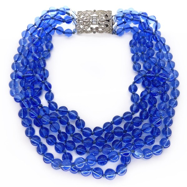 VINTAGE ART DECO FRENCH HAND KNOTTED BLUE GLASS BEAD RHINESTONE CLASP NECKLACE