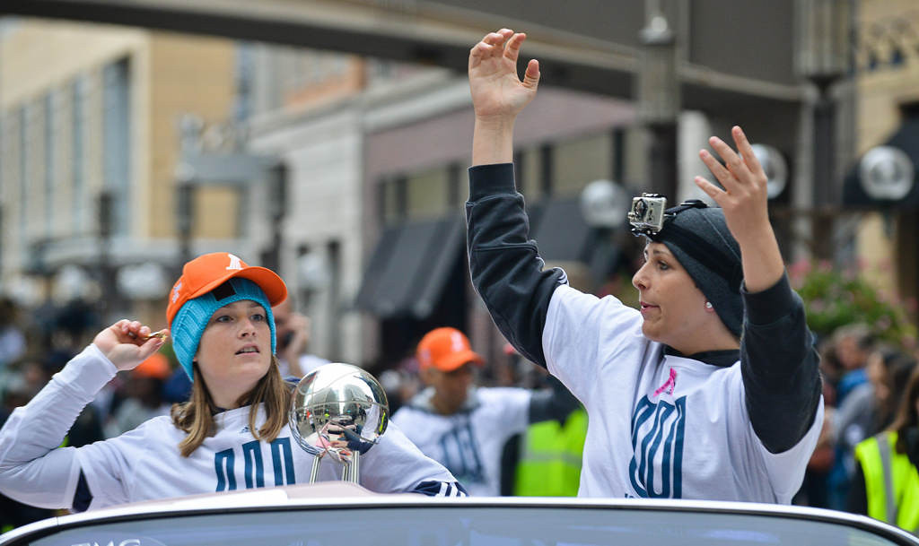 . Lynx players Lindsay Whalen, left, and Janel McCarville celebrate. (Pioneer Press: Ben Garvin)