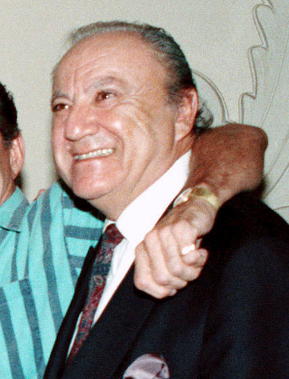 . FILE - In this Oct. 4, 1990 file photo, Bill Dana appears in Beverly Hills, Calif.  Dana, a comedy writer and performer who won stardom in the 1950s and \'60s with his character Jose Jimenez, has died. He died Thursday, June 15, 2017, at his home in Nashville, Tenn., according to Emerson College, his alma mater. He was 92. (AP Photo/Kevork Djansezian, File)