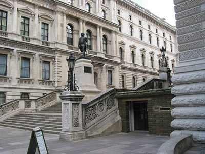 The entrance to the Cabinet War Rooms (bottom right), and King Charles Street, London.