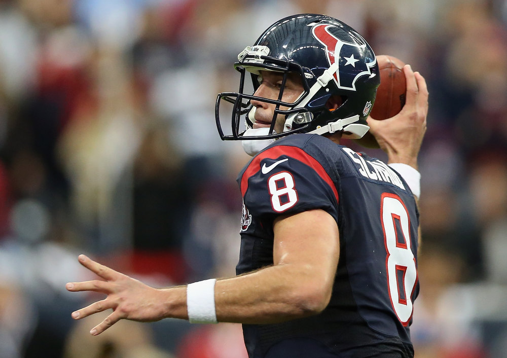 . Matt Schaub #8 of the Houston Texans passes against the Cincinnati Bengals during the AFC Wild Card Playoff Game at Reliant Stadium on January 5, 2013 in Houston, Texas.  (Photo by Ronald Martinez/Getty Images)