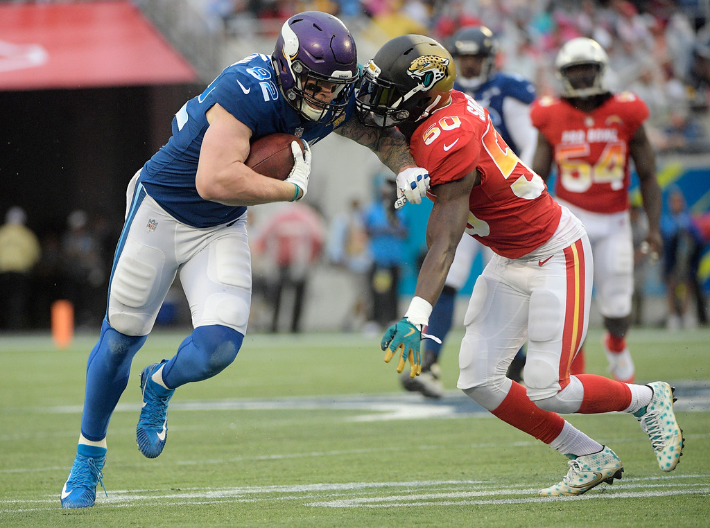 . AFC linebacker Telvin Smith (50), of the Jacksonville Jaguars, defends NFC tight end Kyle Rudolph (82) of the Minnesota Vikings, during the second half of the NFL Pro Bowl football game, Sunday, Jan. 28, 2018, in Orlando, Fla. (AP Photo/Phelan M Ebenhack)