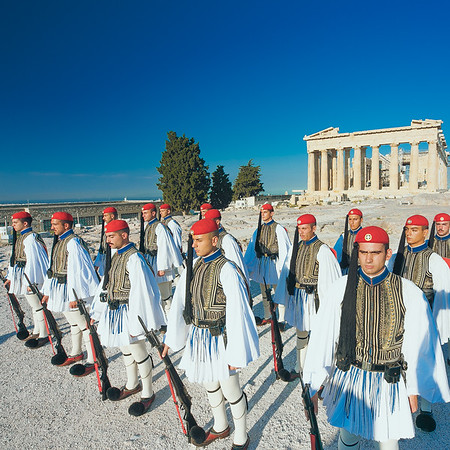 2018 Greek Presidential Guard Acropolis Sunrise Athens Greece.