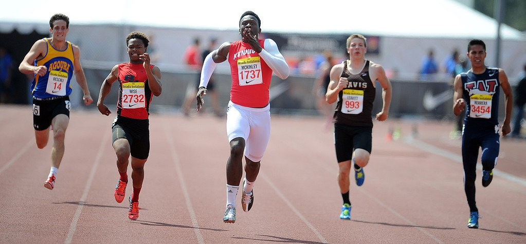 . Kennedy\'s Takkartist McKinley (Richmond) wins the 200 meters race in the during the Arcadia Invitational at Arcadia High School on Saturday, April 6, 2013 in Arcadia, Calif.  (Keith Birmingham Pasadena Star-News)