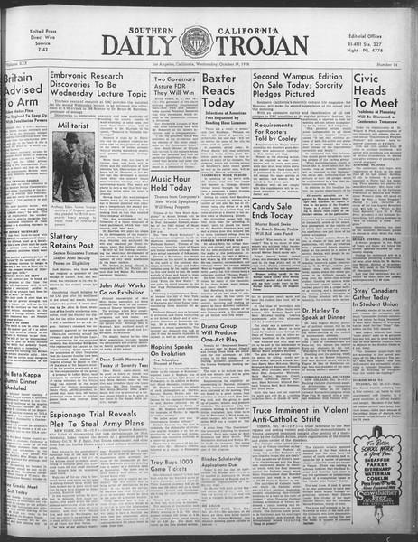 Daily Trojan, Vol. 30, No. 24, October 19, 1938