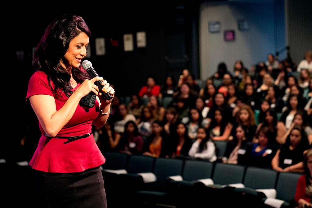 . Telemundo news anchor Dunia Elvir speaks to high school students during Women\'s History Conference at Rio Hondo College in Whittier on Friday, March 7, 2014. The conference, themed �Women Inspiring Hope and Possibility,� is a joint venture with the Whittier Union High School District and Soroptomist International of Whittier. (Photo by Watchara Phomicinda/San Gabriel Valley Tribune)