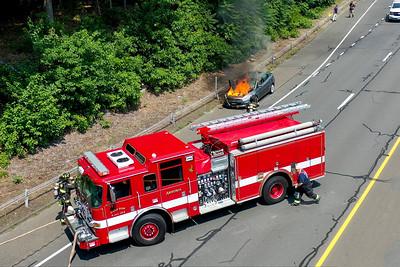 Route 8 NB Car Fire (Ansonia, CT) 7/7/21