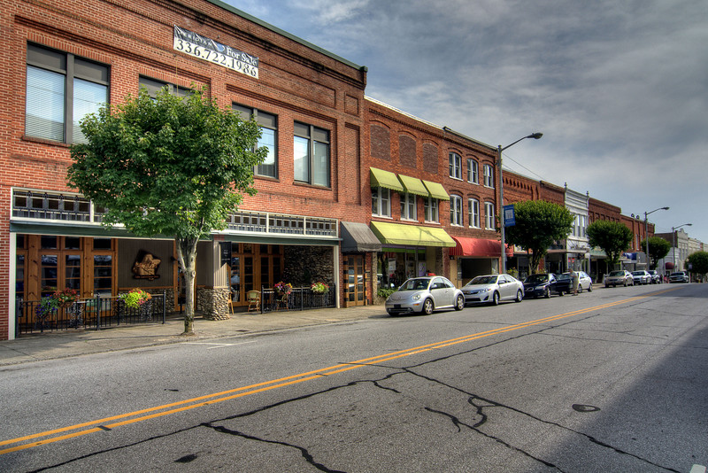 View along Main Street in Downtown North Wilkesboro, NC on Friday, June 13, 2014. Copyright 2014 Jason Barnette