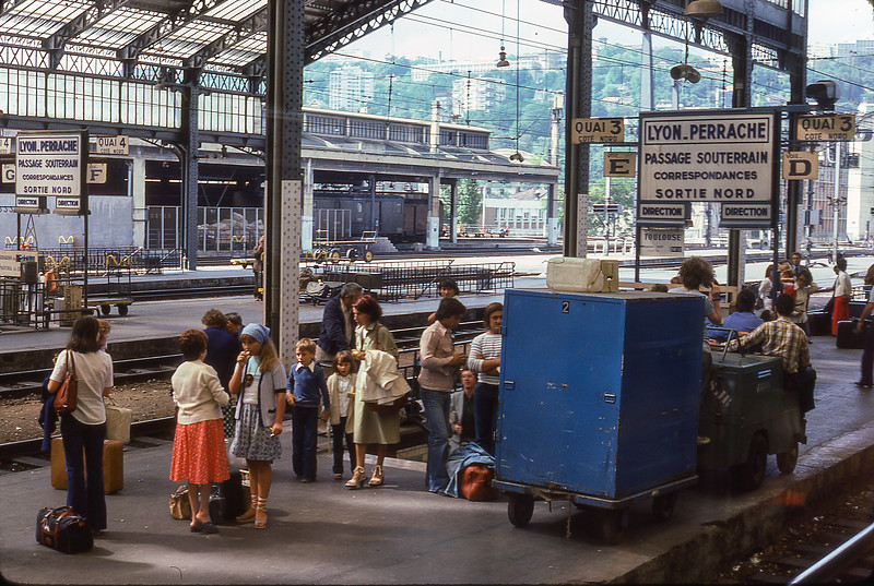 Transfering trains in Lyon, France,  1977