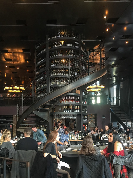 26 Feb: Tower of wine inside Purple Cafe and Wine Bar, downtown Seattle