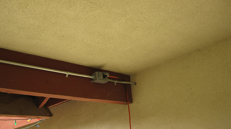 Plug to feed anything hanging off of this beam and to drop a cord to feed the potted plant lighting.