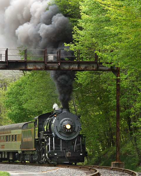 WMSR #734 along the Allegany Highlands Trail Western Maryland Scenic Railroad