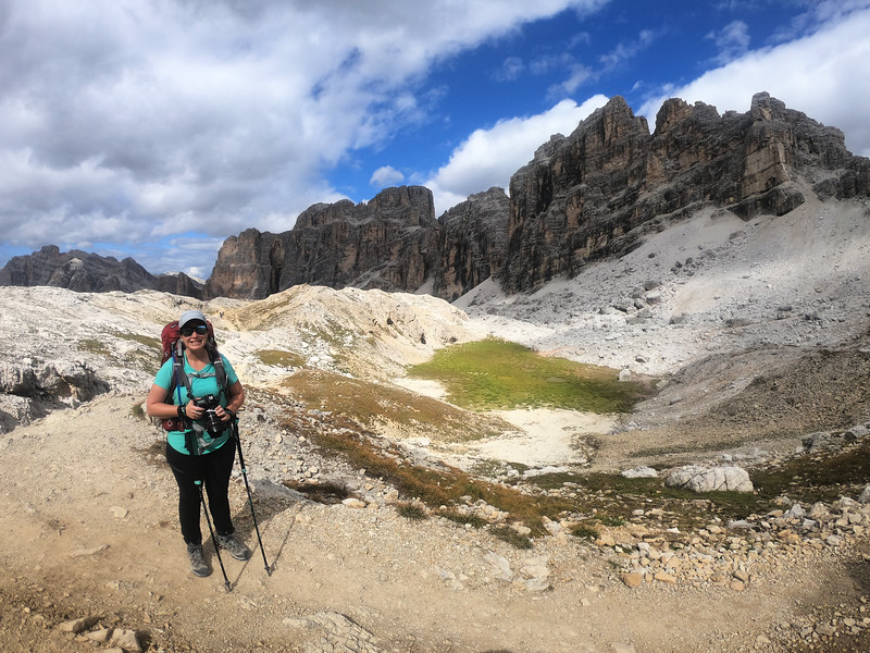 Lina Stock hiking the Dolomites on the Alta Via 1 in Italy