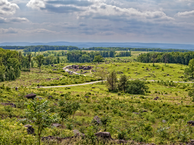 View from the top of Little Round Top on the Gettysburg Battlefield