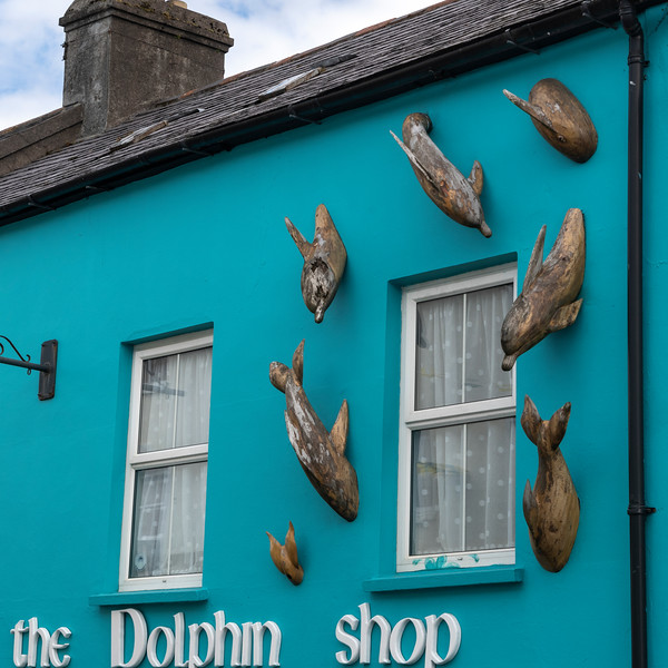 Wooden dolphin sculptures on wall of store, Dingle, Dingle Peninsula, County Kerry, Republic of Ireland